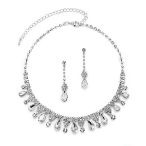 Mariell Rhinestone Necklace Set With Pear-shaped Crystals 4546s-cr-s