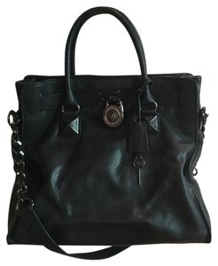 Michael Kors Saffiano Leather Large Black Mk Tote in Black/Black Silver Hardware