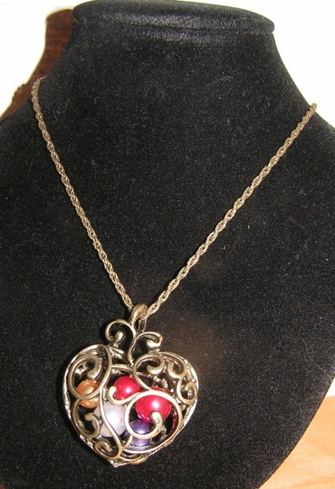 Bronze Bogo Free Heart Filled W/Faux Pearls Free Shipping Necklace