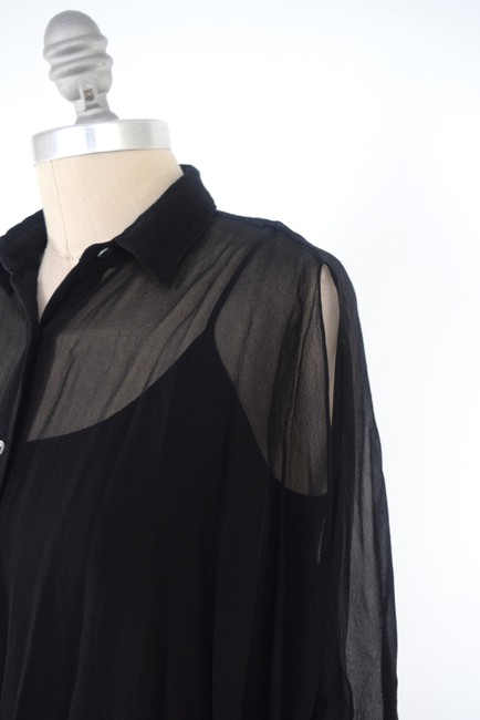 ADAM Draped Silk Chiffon Flutter Sleeve Top Black Image 1