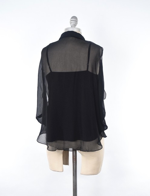 ADAM Draped Silk Chiffon Flutter Sleeve Top Black Image 4
