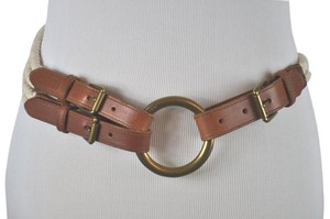 Ralph Lauren Ralph Lauren Brown Leather Ivory Rope Belt With Gold Tone Buckle Size S