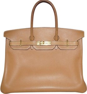 Hermès 35 Gold Courchevel Tote in Beige/ Light Brown