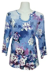 Alfred Dunner U-neck Beaded Floral 3/4 Sleeves Shirt Top Multi-color
