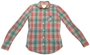 American Eagle Outfitters Ae Button Down Shirt Red and green