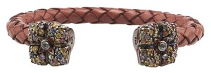 M.C.L by Matthew Campbell Laurenza MCL Sterling Silver Rhinestone Brown Leather Braided Bracelet (85673)
