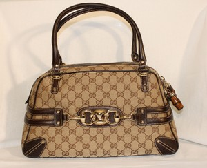 Gucci Canvas Leather Boston Satchel in Beige/Ebony