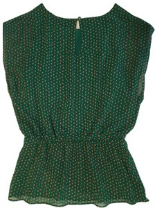 Bobeau Green Sexy Peplum Polka Dot Top