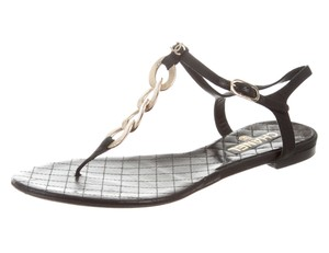 Chanel Interlocking Cc Logo Ankle Strap Chain Gold Hardware Black Sandals
