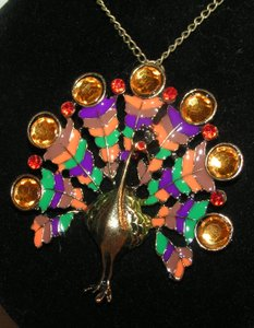 Colorful Peacock Rhinestone Necklace Free Shipping