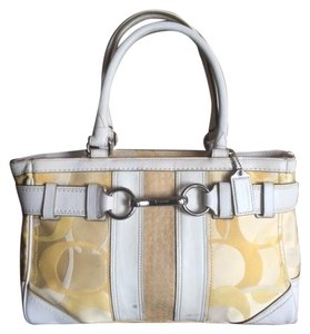 Coach Satchel in Yellow and White