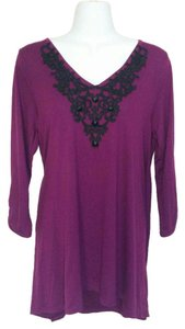 August Silk V-neck V-back Embroidered Beaded Trapeze Shirt Top Purple