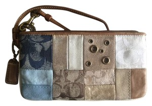 Coach Coach Multi-Color Canvas Leather Suede Wristlet Patchwork