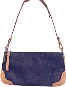 Coach Wristlet in Denim and Tan