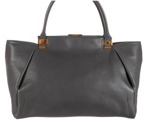 Lanvin New Leather Gold Hardware Handles Tote Satchel in Gray