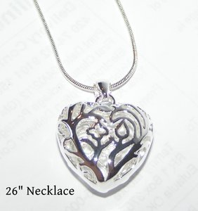 Silver Puffed Heart Necklace Free Shipping
