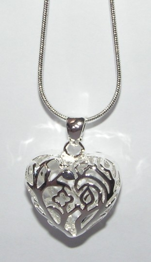 Silver Bogo Free Filigree Heart Free Shipping Necklace