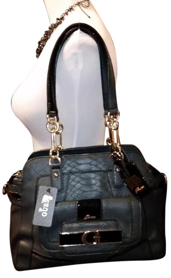 Guess Satchel Black Snakeskin Embossed Leather