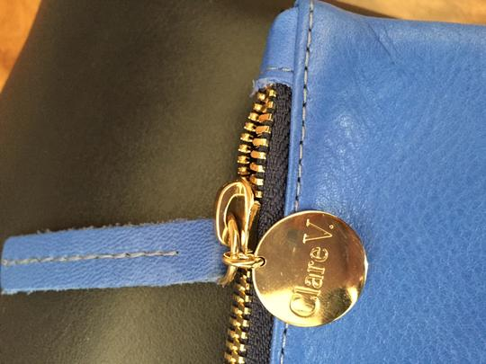 Clare V. Navy and sky blue Clutch