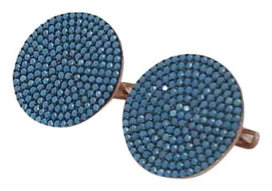Other Rose Gold and Turquoise Mosaic Button Earrings Image 1