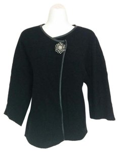 JM Collection Wool Rhinestones Beaded Sweater