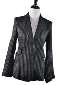 CoSTUME NATIONAL Linen Pinstripe Black Silver Black Stripe Jacket