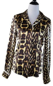 Just Cavalli Silk Leopard Print Size 42 Top Multi Color