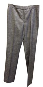 Lafayette 148 New York Size 10 Slimming Weave Plaid Trouser Pants Grey/Gold/Silver