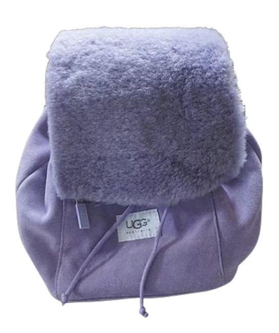Item - Drawstring Nordie Style Lilac Suede/Sheepskin and Shearling Flap Backpack