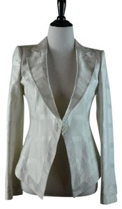 Emporio Armani Woven Pattern Single Button Ivory Blazer