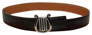 Hermès Silver Harp With Reversible Black/Tan Strap Belt size 65 HTL98S