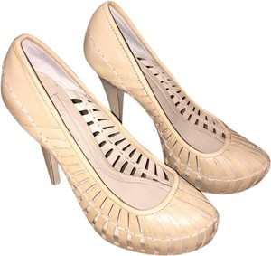 BCBGeneration Leather Heels Petal 7.5 Nude, Beige, Tan, Taupe Pumps