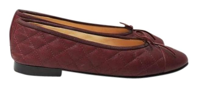 Item - Burgundy Classic Quilted Bordeaux Ballerina Bow 39 Flats Size US 9 Regular (M, B)