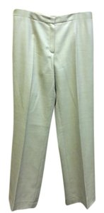 Escada Beige/Gold Size 8-10 Zipper Slimming Straight Pants Beige/gold
