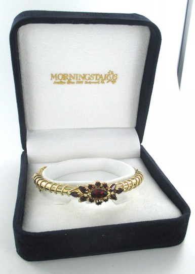 Other 14KT YELLOW GOLD TWINED WOVEN BANGLE RED STONE BRACELET 17.2 GRAMS FINE JEWELRY