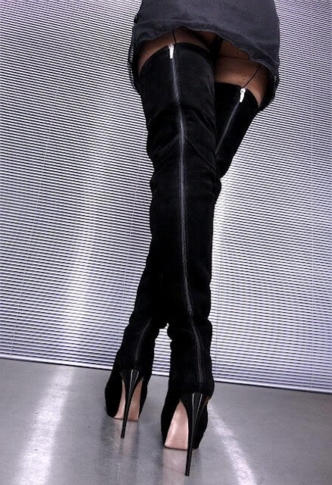 Mori Thigh High Over Knee Platform Sexy Leather Italy 8us Black ...