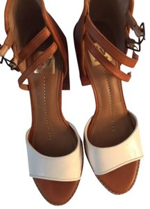 Dolce Vita Platform White and Tan Sandals