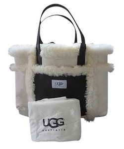 UGG Australia Winter Faux Fur Sheepskin Leather Satchel in Cream and Brown