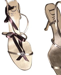 Dior Strappy Night Out Designer Champagne/ Pearl Sandals