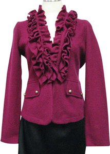 Cache Soldier Wool Ruffle Purple Jacket