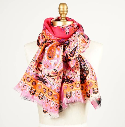 Etro ETRO Printed Pink Wool and Silk-blend Scarf Image 3
