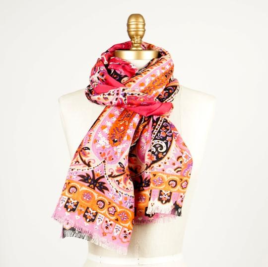 Etro ETRO Printed Pink Wool and Silk-blend Scarf Image 4