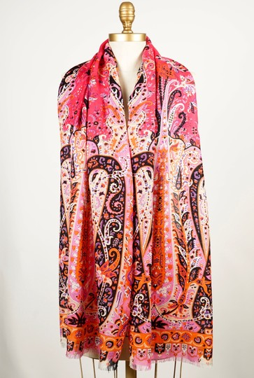 Etro ETRO Printed Pink Wool and Silk-blend Scarf Image 5