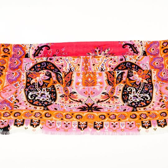 Etro ETRO Printed Pink Wool and Silk-blend Scarf Image 6