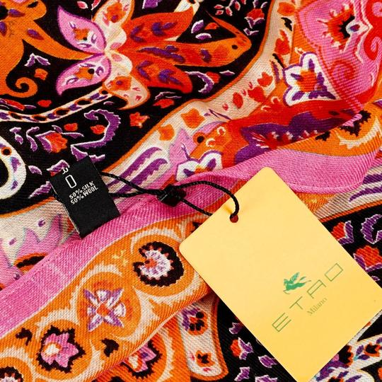 Etro ETRO Printed Pink Wool and Silk-blend Scarf Image 7