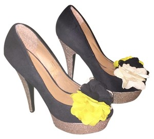ZIGI soho Glitter Suede Yellow Black Pumps
