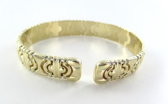 milros 14KT SOLID YELLOW GOLD BANGLE BRACELET MADE IN ITALY ITALIAN OPEN MILROS DESIGN