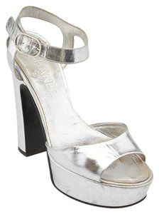 Chanel Metallic Leather Heels Silver Platforms