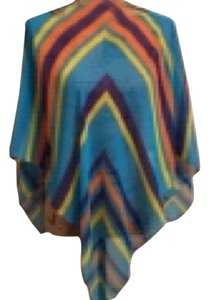 Poncho Spring/ Summer Sheer Multi colored Striped Poncho Top Multi Turqoise Purple Orange Yellow
