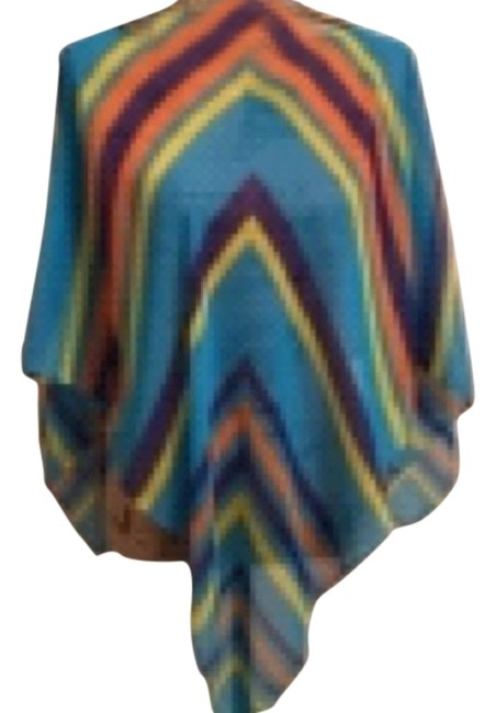 Poncho Spring/ Summer Sheer Multi colored Striped Poncho Top Multi Turqoise Purple Orange Yellow Image 0